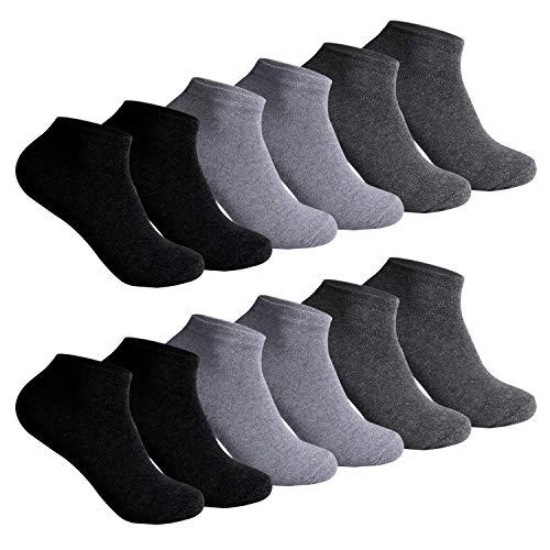 L&K 12 Paar Herren Sneaker-Socken Füßlinge 43/46 schwarz/grau