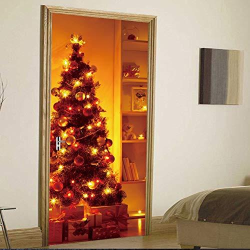 Lee My Türposter PVC 3D Weihnachtsbaum Türaufkleber Türfolie Türtapete-Dekofolie Selbstklebend DIY Türbild, 77 * 200cm,B