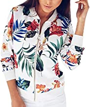 Fankle Women's Jacket Boho Floral Printed Classic Zip Up Long Sleeve Bomber Coat Casual Loose Short Lightw