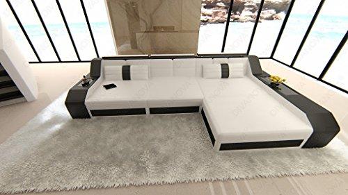 Divanova | divano moderno antares angolare in similpelle - bianco e nero