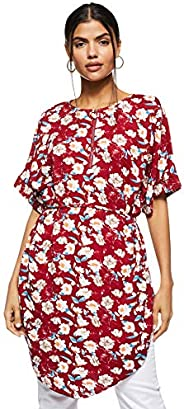 Women's Floral Printed Tunic Blouse With Ti