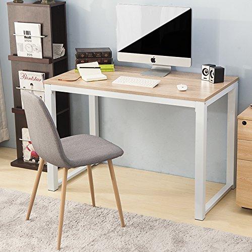 Scrivania per computer dal design semplice e moderno, tavolo scrivania per computer in legno, postazione di lavoro, scrivania compatta per casa e ufficio natural