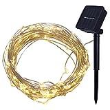 EisEyen 4M 40er Lichterkette Solar Außen Micro LED Lichterketten Draht, Kaltweiß, Warmweiß, Bunt Dekoration für Terrasse, Garten, Schlafzimmer, Weihnachtsfest, Hochzeit