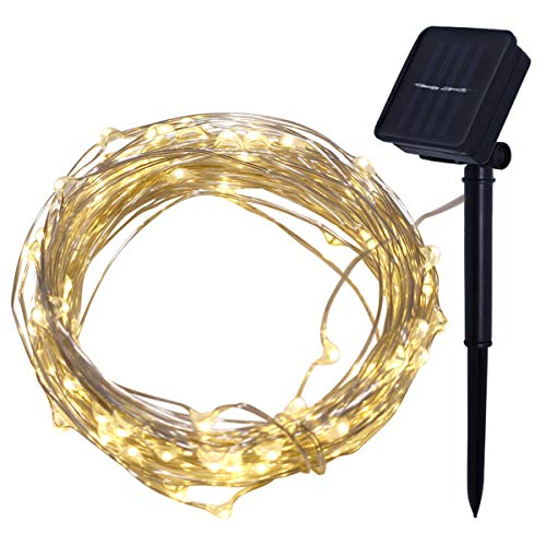 Neborn 4 M 40 LED Solar Streifen Licht Home Garten Kupfer Draht Licht String Fee Outdoor Solar Powered Weihnachten Party decor (Weiß)
