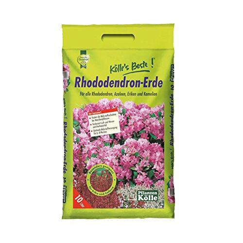 Rhododendron-Erde 10 Liter – Pflanzerde, Blumenerde für Moorbeetpflanzen – Gärtner-Qualität – Erde für Rhododendron, Azalee, Erika, Kamelie – Kölle's Beste