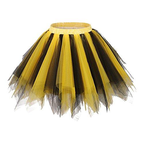 Honeystore Damen's Neuheiten Tutu Unterkleid Rock Ballet Petticoat Abschlussball Tanz Party Tutu Rock Abend Gelegenheit Zubehör Gelb und Schwarz