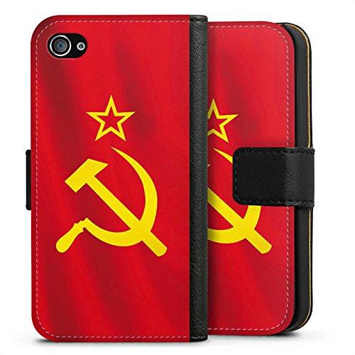 Apple iPhone X Silikon Hülle Case Schutzhülle UdSSR Flagge Hammer und Sichel Sideflip Tasche schwarz