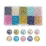 PandaHall 1.500 Stück 4-4,5mm Glas-Perlen in verschiedenen Ausführungen farbig rund zum Basteln von selbstgemachtem Schmuck, 4-4,5x 4mm, Loch: 1mm, ca. 150 Stück pro Abteil, 1.500 pro Packung. 8~8.5x7.5~8mm Colore Misto#14