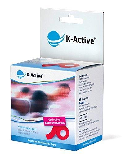 K-Active Kinesiologisches Tape Sport I Elastisches Kinesiologisches Tape für hohe Belastungen I reduzierte Dehnfähigkeit I durch mehr Sensorik - mehr Unterstützung und Stabilität für Muskeln und Gelenke I Rot