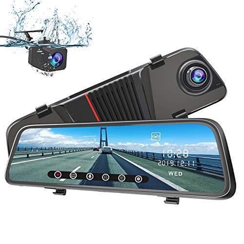 "AWESAFE Dashcam Rückspiegel 10"" Full HD Touchscreen 1080P Frontkamera und 1080P Wasserdichte Rückfahrkamera Streaming Autokamera"