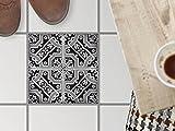 Fussboden-Fliesen dekorativ | Deko-Fliesenaufkleber Balkonfolie Dekorfolie-Boden Fußboden Deko | 30x30 cm Muster Ornament Black n White - 1 Stück