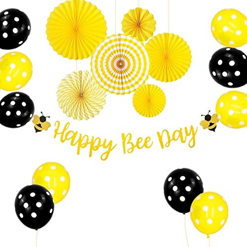 JeVenis Set mit 17 Happy Bee Day Bannern Happy Bee Day Kuchendeckel Bumble Bee Baby Shower Dekoration Bumble Bee Luftballons