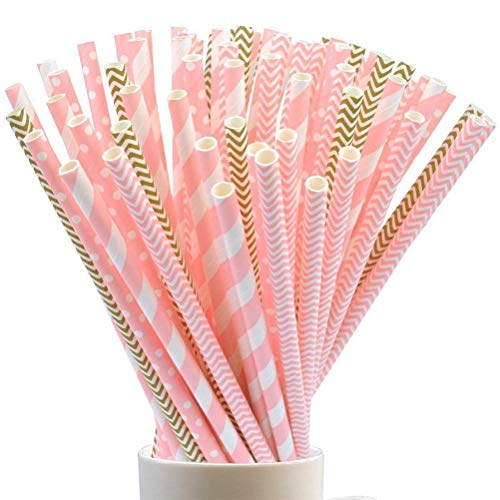 Jerbro Pack of 100 Disposable Drinking Straws Biodegradable Paper Straws for Birthday, Wedding, Baby Shower, Celebrations and Party