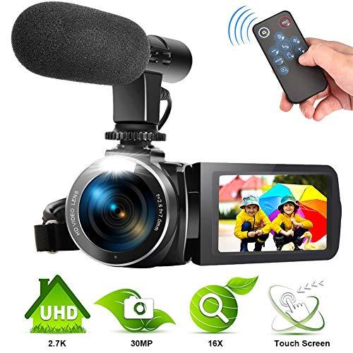 Camescope 2.7K Appareil Photo Numérique Youtube Camescope 30MP Appareil Photo Caméscope avec Microphone et Télécommande