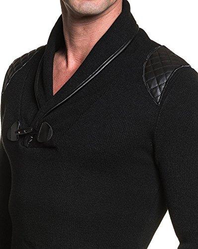 BLZ jeans - Pull homme fin noir col châle Noir