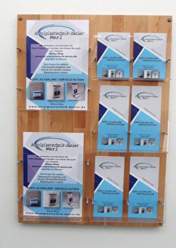 Kombi Prospektwandhalter Buche 2 Fächer DIN A4 + 6 Fächer DIN LANG