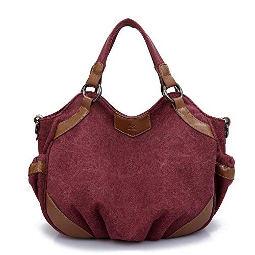 fashion Damen Schultertasche Canvas Schultertasche Handtasche Messenger Taschen Umhängetaschen Outdoor Totes Hobo Bag rot
