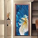 HUAIX Home Ölgemälde Goldfish Nachahmung 3D stereoskopische türaufkleber Hause persönlichkeit Dekoration wandaufkleber
