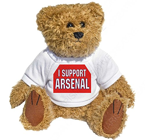 Cute Teddy with his own little T-Shirt with the message - I Support Arsenal. The cutest, scruffiest, most adorable little Teddy Bear. You cannot help but fall in love with him. A must for every Arsenal Supporter. Novelty Fun little bear, Ideal Gift for The Girlfriend, Mothers Day Gift, Workplace Present, Father's day present, Birthday present or Christmas Present.