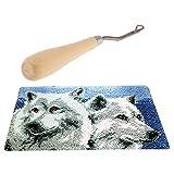 Baoblaze Knüpfteppich Formteppich (Wolf Muster) Knüpf-Sets für Kinder und Erwachsene zum Selber Knüpfen Teppich, Latch Hook Kit