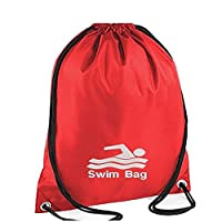 EMBROIDERED Swim image Personalised Drawstring GYM Bag Gym ,School Nursery Swimming ,PE, Dance Kit (RED)