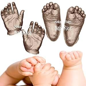 Anika-Baby Kit pour moulures pieds et mains de bébé Bronze métallique Pour 12 empreintes Taille L