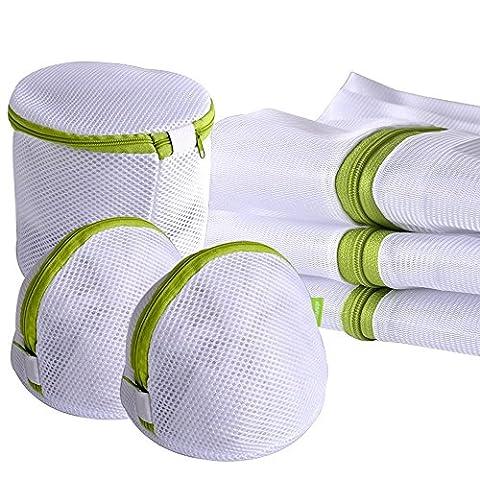 Sac de lessive,Hitueu Paquet de sac de lavage de rangement de 6 sacs pour la lessive, le chemisier, la bonneterie, le bas, les sous-vêtements, le soutien-gorge et la lingerie, sac de linge de voyage (vert)
