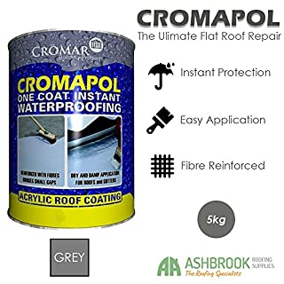 Cromapol | Acrylic Roof Coat | Waterproofing Roof Sealant | Fibre Reinforced | Three Sizes | Four Colours | (5kg, Grey)