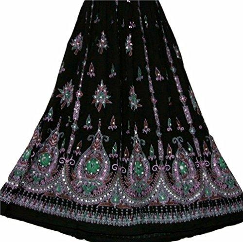 Bunte Womans Damen Indianer Boho Hippie Zigeuner Sequin Sommer Sommerkleid Maxi Bauchtanz Rock (5) (Zigeuner Kostüme Uk)
