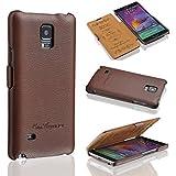 Ledertasche für Samsung Galaxy Note 4 - ***ECHT LEDER - HANDGEFERTIGT*** - Hülle Case Etui Flip Case Schutzhülle - BRAUN - CoinKeeper