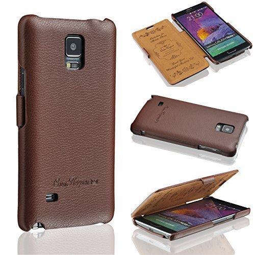 Ledertasche für Samsung Galaxy Note 4 - echt Leder - HANDGEFERTIGT - Hülle Case Etui Flip Case Schutzhülle - BRAUN - CoinKeeper