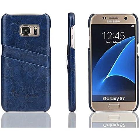 Distinct® Coperchio di lusso PU carta di cuoio fessura posteriore dura di caso per Samsung Galaxy S7 Edge (Blu) - Goffratura Cera