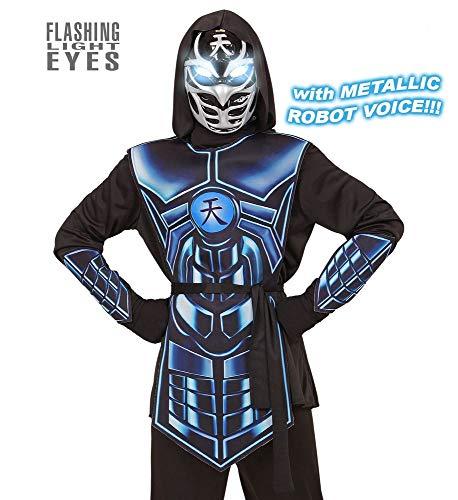 Kostüm Ninja Silber - shoperama Cyber Ninja Kinder Kostüm mit Licht und Sound Effekt für Jungen Samurai Halloween, Größe:158