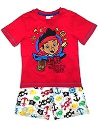 Kids Boys Official Disney Jake And The Neverland Pirates Short Pyjamas PJ's Set Shorts Sleeve Childrens Size 1-4 Years