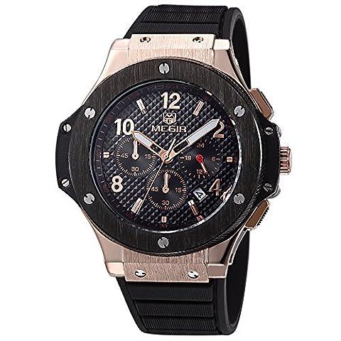 Megir Herren Rose Gold Casual Armbanduhr Black Silikon Armband Chronograph Kalender 3ATM Wasserdicht