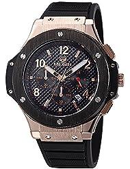Joefox Megir - Reloj para hombre de cuarzo, oro rosa, correa de silicona, incluye cronógrafo, diseño militar