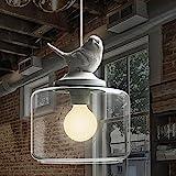 NIUYAO Lámparas de araña Suave y Romántico Blanca Pájaro de Resina