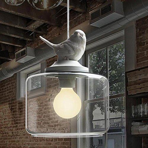 NIUYAO Suspension Lustre Contemporain Doux et Romantique Oiseau en résine Abat-jour avec Clair Verre Pendant Lampe Ceiling Light Chandelier-Blanc