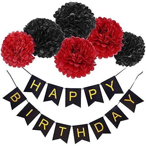 Blulu Bandiere di Happy Birthday con 6 Pezzi Pompon di Carta Velina, Rosso e Nero