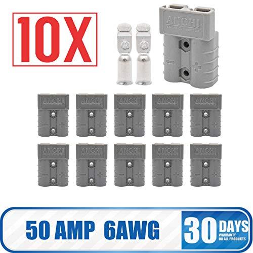 MASO Lot de 10 connecteurs de batterie Anderson 50 AMP 600 V Gris