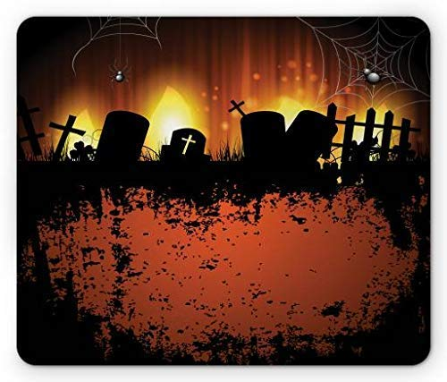 se Pad, Cemetery with Spiders and Webs Tombstone Silhouettes Grunge, Standard Size Rectangle Non-Slip Rubber Mousepad, Rust Black Mustard Burnt Orange ()
