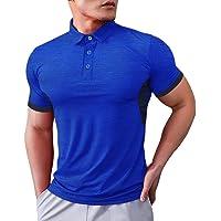 Muscle Alive Uomo Polo Corto Manica Camicie -Prestazione Golf Maglietta per Uomini Sports Magliette