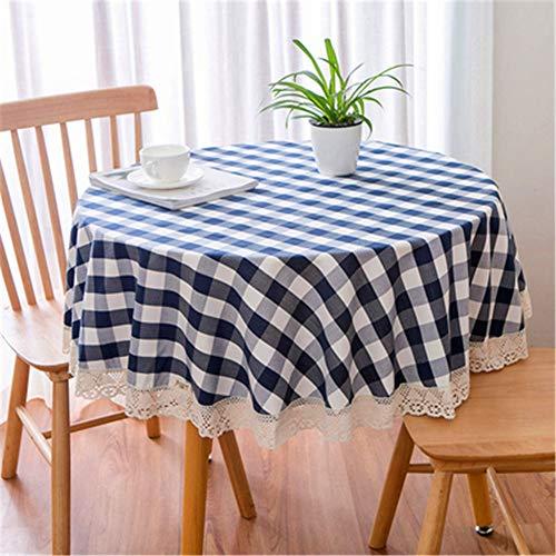 : Baumwolle Leinen Spitze Runde Tischdecke Dicke Plaid Küche Tischdecke Einfache Couchtisch Dekor Tuch ich Durchmesser 150cm (Marvel Couchtisch)