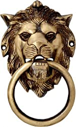 Two Moustaches Brass Lion Mouth Door Knocker