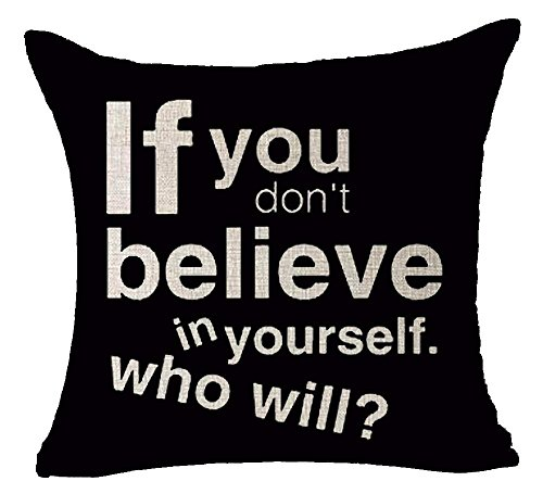 Black Background Inspirational If You Believe in Yourself Who Will Time Spent with Cats is Never Wasted Cotton Linen Decorative Home Office Throw Pillow Case Cushion Cover Square 18X18 inches (Cat Tower Zubehör)