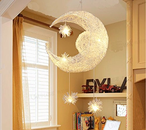 Lonfenner lampada a sospensione/plafoniera con luna e stelle, per la cameretta dei bambini/soggiorno - 2