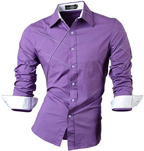 Jeansian uomo camicie maniche lunghe moda men shirts slim fit causal long sleves fashion 2028 purple xxl