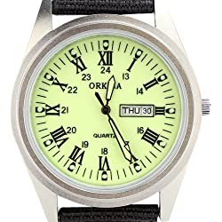 Orkina Mens Light Green Dial Quartz Date Day Nylon Canvas Band Wrist Watch P109CA-SRLG