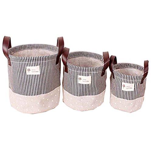 Fieans Faltbare Mini Square Baumwollgewebe Lagerplätze Storage Baskets Organizer für Regale & Schreibtische-Blau (3er Pack)