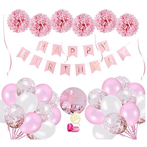 Geburtstag Dekoration Set, Happy Birthday Girlande mit rosa Luftballons und Seidenpapier Pompoms inklusive